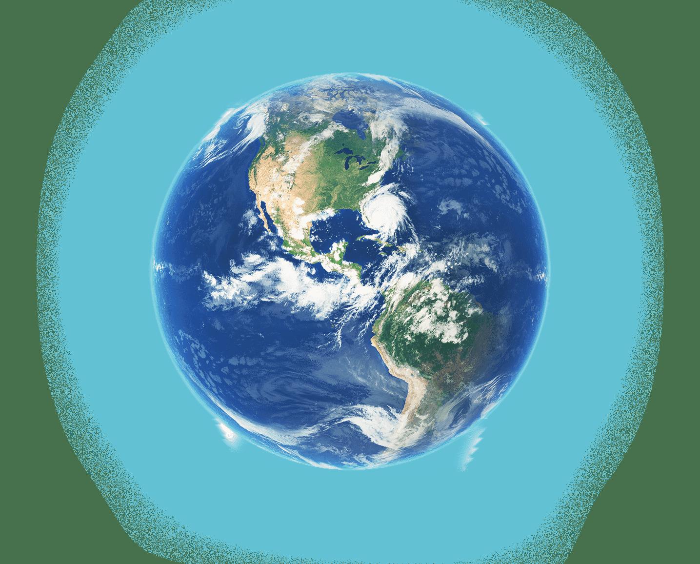 planeta terra todo azul com os oceanos e seus continentes