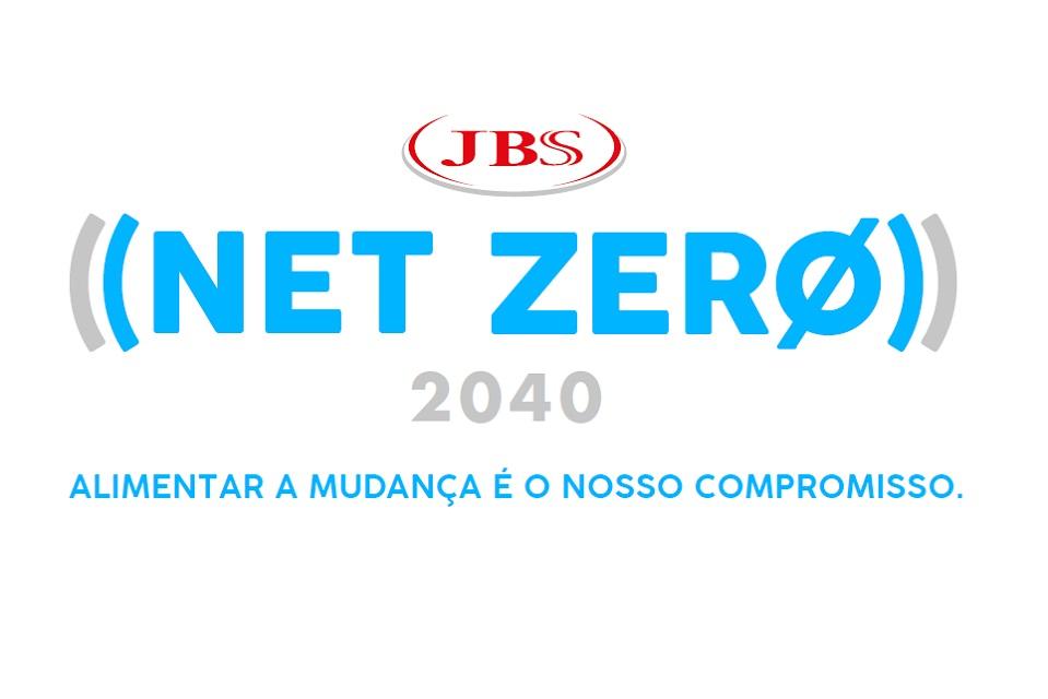 Logo Net Zero 2040 e JBS, com texto Alimentar a mudança é o novo compromisso
