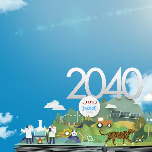 jbs net zero 2040 fundo com duas figuras de cientistas, um panda e uma onça mobile