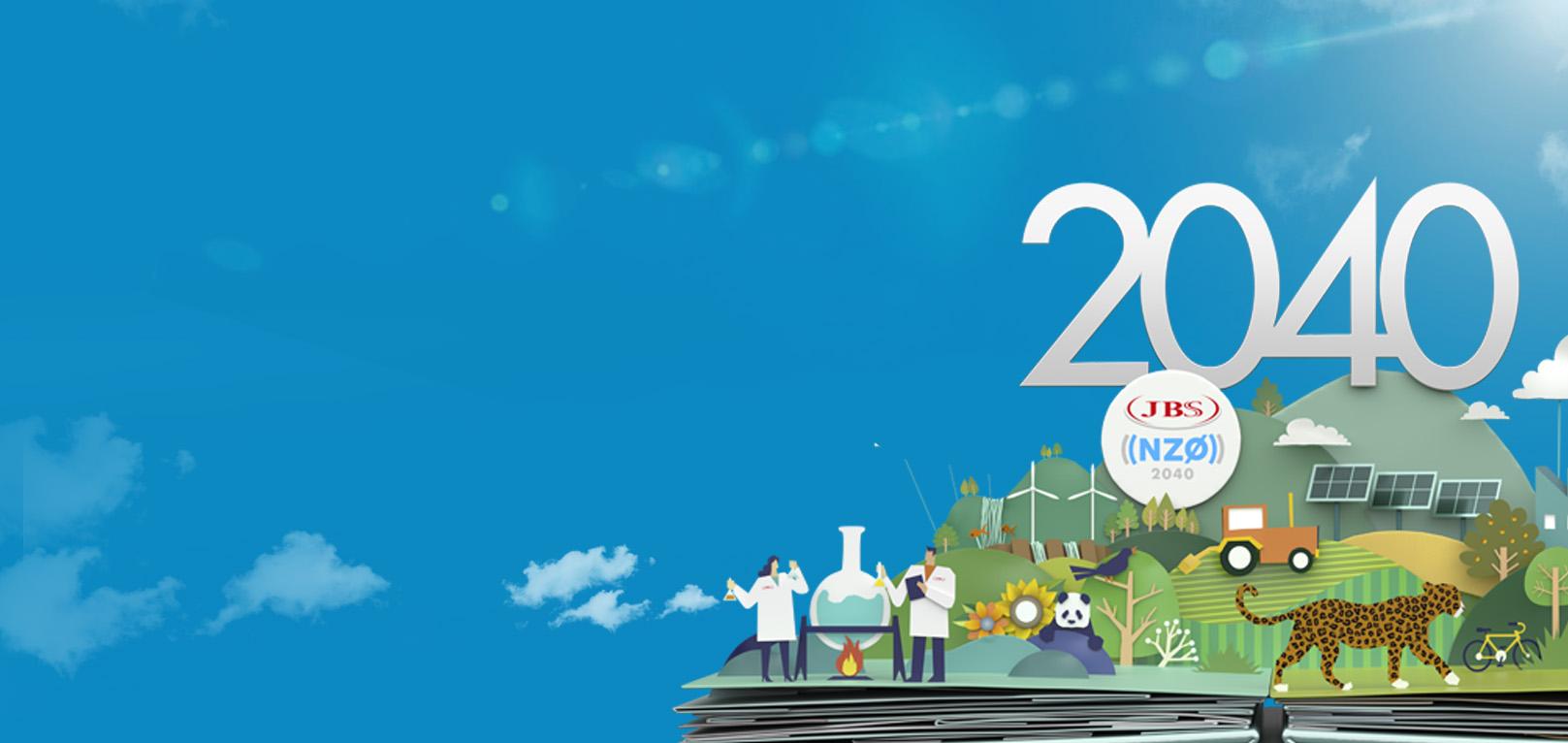 jbs net zero 2040 fundo com duas figuras de cientistas, um panda e uma onça