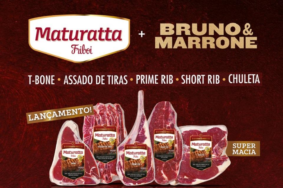 Embalagens de peças de carnes com os jogos da Maturata Friboi + Bruno e Marrone