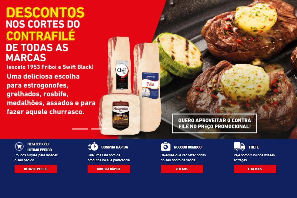 Planfleto informativo com descontos em na carne Contra Filé - Imagens de Carnes assada com em uma churrasqueira